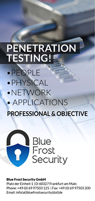 Flyer Penetration Tests von Blue Frost Security