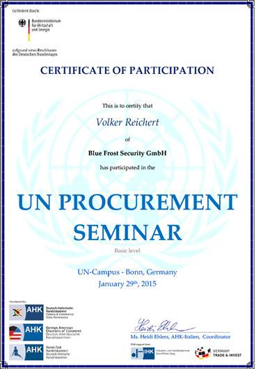 Zertifitkat für die Teilnahme an dem Procurement Seminar der UN in Bonn 2015