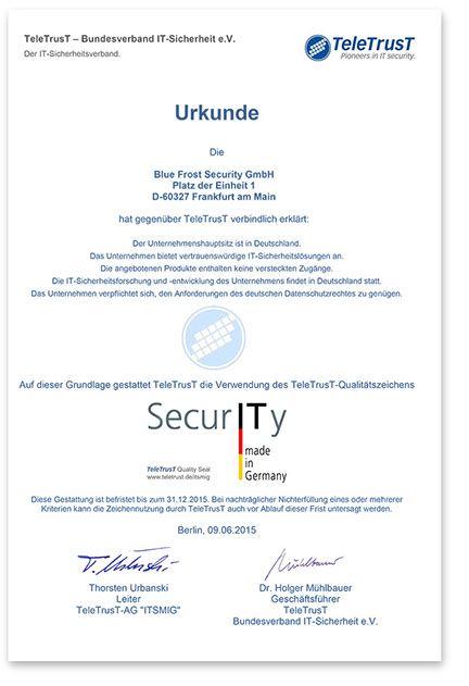 Blue Frost Security ist Partner der